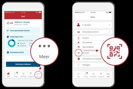 Inloggen met behulp van de IZA Zorg app QR-code
