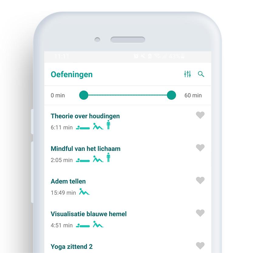 Afbeelding van een telefoon met daarop de Mindfulness coach app op het scherm 'oefeningen'