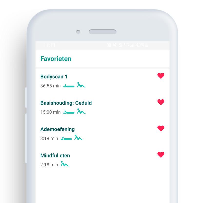 Afbeelding van een telefoon met daarop de Mindfulness coach app op het scherm 'favorieten'